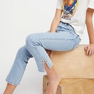 Levi's 501 Crop Jeans Grommet Side Detail Cropped